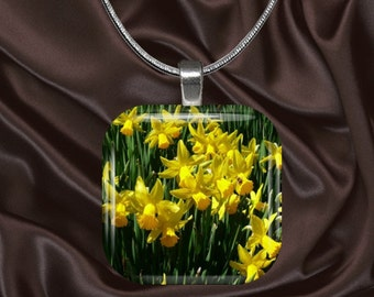 Daffodil Glass Tile Pendant with chain(CusFl1.6)