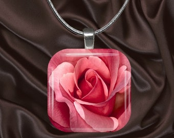 Pink Rose Glass Tile Pendant with chain(CusFl2.6)
