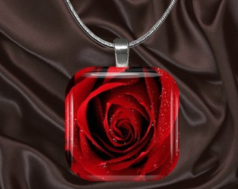 Red Rose Glass Tile Pendant with chain(CusFl3.2)