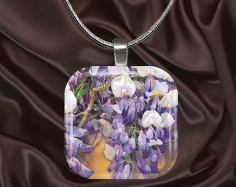 Floral Glass Tile Pendant with chain(CusFl4.4)