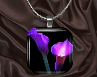 Pink Calla Lily Glass Tile Pendant with chain(CusFl8.4)