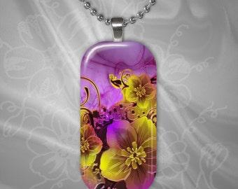 Floral Glass Tile Pendant with chain(CuFlR3.2)