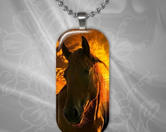 Sunset Horse Glass Tile Pendant with chain(CuAnR2.1)