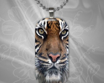 Indian Tiger Glass Tile Pendant with chain(CuAnR2.2)