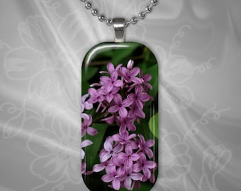 Lilac Glass tile Pendant with chain(CuFlR22.3)