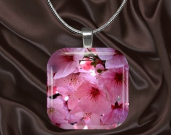Cherry Blossom Glass Tile Pendant with chain(CuOr2.5)