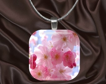Cherry Blossom Glass Tile Pendant with chain(CuOr2.7)