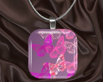 Pink Butterfly Glass Tile Pendant with chain(CuBu3.7)