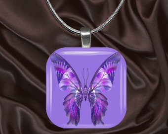 Purple Butterfly Glass tile Pendant with chain(CuBu5.1)