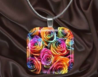 Rainbow Roses Glass Tile Pendant with chain(CuRa6.2)