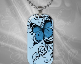 Blue butterfly Glass tile Pendant with chain(CuBuR1.4)