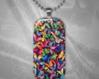 Butterfly Melange Glass tile Pendant with chain(CuBuR1.7)