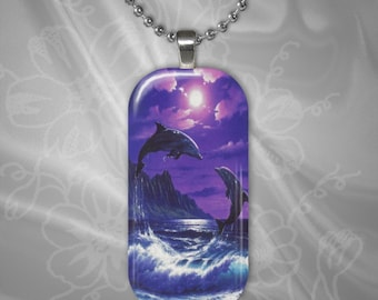 Jumping Dolphin Pair Glass Tile Pendant with chain(CuAnR1.4)