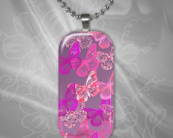 Pink Butterflies Glass Tile Pendant with chain(CuBuR3.5)