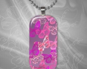 Pink Butterflies Glass Tile Pendant with chain(CuBuR3.5)
