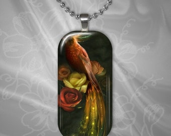 Exotic Bird Glass Tile Pendant with chain(CuAnR1.6)