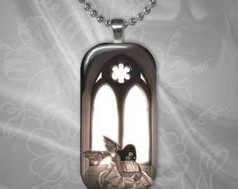 Angel Glass Tile Pendant with chain(CuFFR22.4)