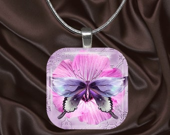 Purple Butterfly on Pink Flower Glass Tile Pendant with chain(CuBu2.2)