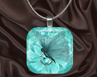 Aqua Butterfly Glass Tile Pendant with chain(CuBu2.3)