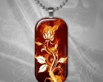 Fire Flower Glass Tile pendant with chain(CuFFR11.6)