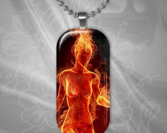 Fire Woman Glass Tile Pendant with chain(CuFFR11.7)