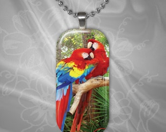 Red Parrot Pair Glass Tile Pendant with chain(CuAnR3.2)