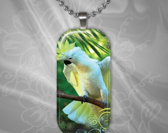 Cockatoo Glass Tile Pendant with chain(CuAnR3.4)