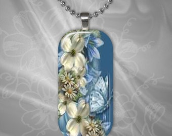 Blue and White Floral Glass Tile Pendant with chain(CuFlR21.2)