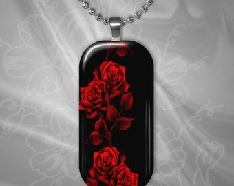 Red  Roses on Black Glass Tile pendant with chain(CuFlR21.5)