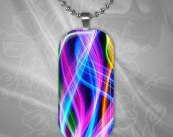 Rainbow Swirls Glass Tile Pendant with chain(CuRaR1.2)