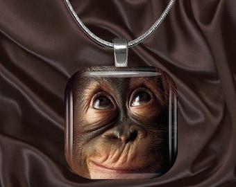 Orangutan Glass Tile Pendant with chain(CuAn3.3)