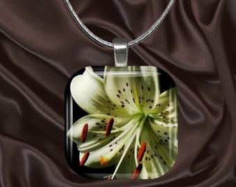 Lily on Black Glass Tile Pendant with chain(CusFl21.7)