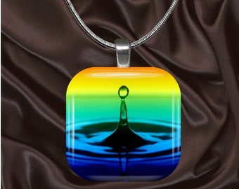 Rainbow Water Droplet Glass Tile pendant with chain(CuRa1.2)