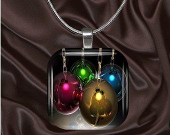 Rainbow Ornaments Glass tile Pendant with chain(CuRa3.5)