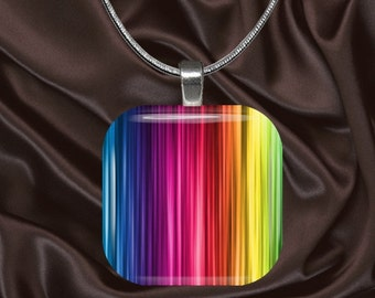 Rainbow Stripes Glass Tile Pendant with chain(CuRa3.6)