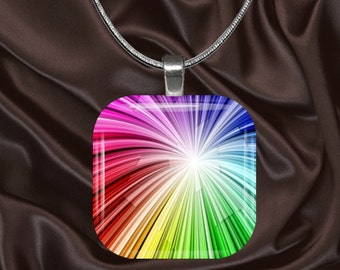 Rainbow Starburst Glass tile Pendant with chain(CuRa4.1)