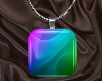 Rainbow Swirls Glass tile Pendant with chain(CuRa4.2)
