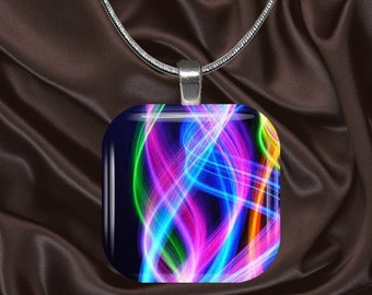 Rainbow Swirls Glass Tile Pendant with chain(CuRa4.7)