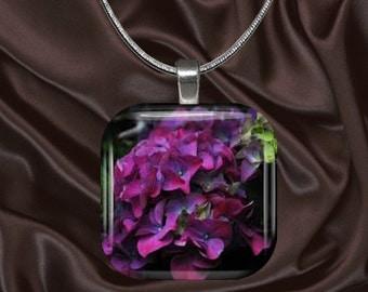 Deep Purple hydrangea Glass Tile Pendant with chain(CuFl24.7)
