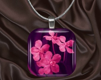 Pink Flowers on Purple Glass tile Pendant with chain(CuFl25.3)