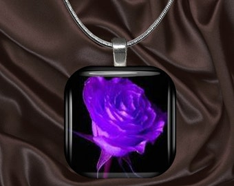 Purple Rose Glass tile Pendant with chain(CuFl25.4)