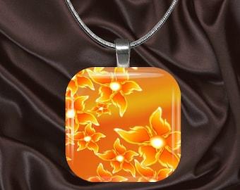 Orange Floral Glass Tile Pendant with chain(CuFl5.1)