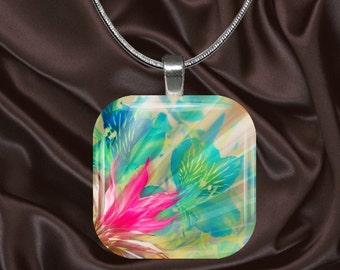 Fantasy Floral Glass Tile Pendant with chain(CuFl7.3)