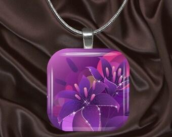 Purple Fantasty Floral Glass tile Pendant with chain(CuFl8.3)