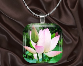 Pink Lotus Flower Glass tile Pendant with chain(CuFl8.7)