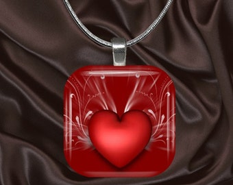 Red Heart Glass tile Pendant with chain(CuLo4.7)