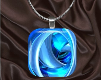 Blue Swirls Glass tile Pendant with chain(CUFF11.7)