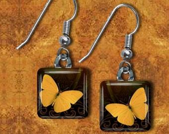 Yellow butterfly Glass tile Earrings(EBu1.6)