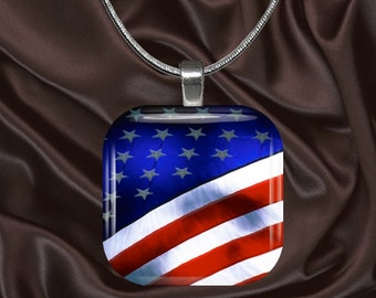 American Flag Glass Tile Pendant with chain(CuMi5.6)