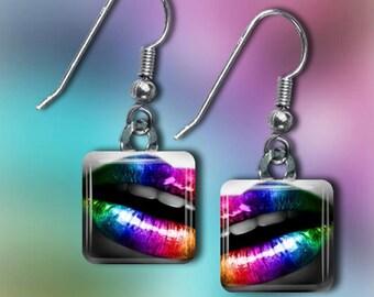Rainbow Lips Earrings(ERain1.1)